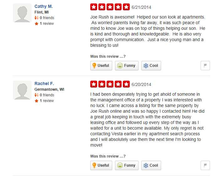 Some amusing Yelp reviews for Vesta Preferred's Joe Rush