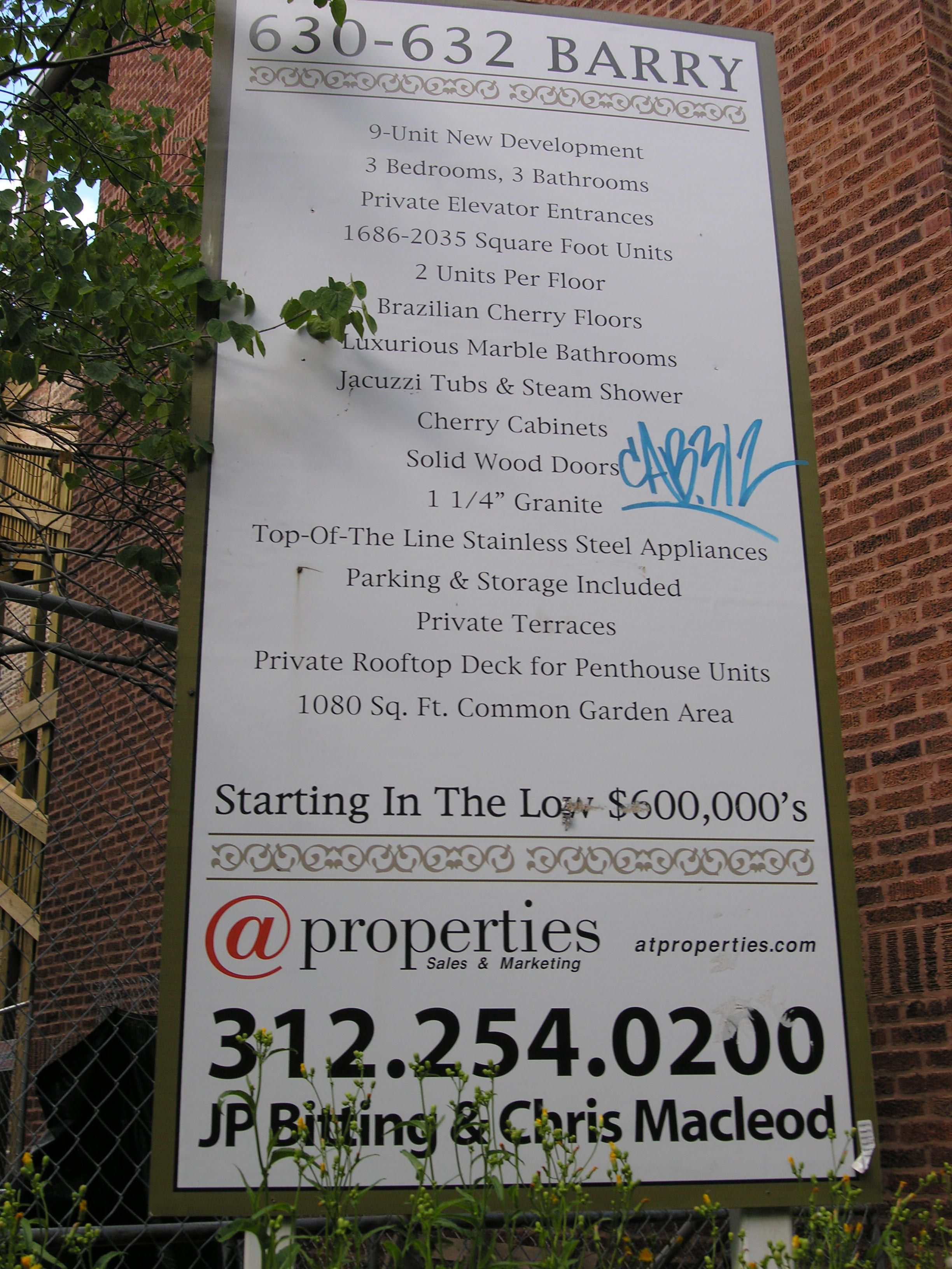 Advertising sign for 630-632 W Barry Ave