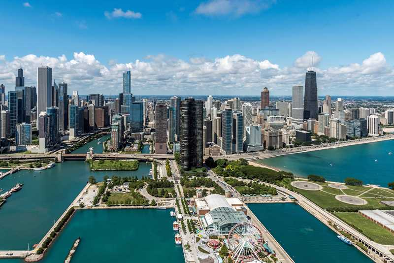 Aerial view of Streeterville, Chicago
