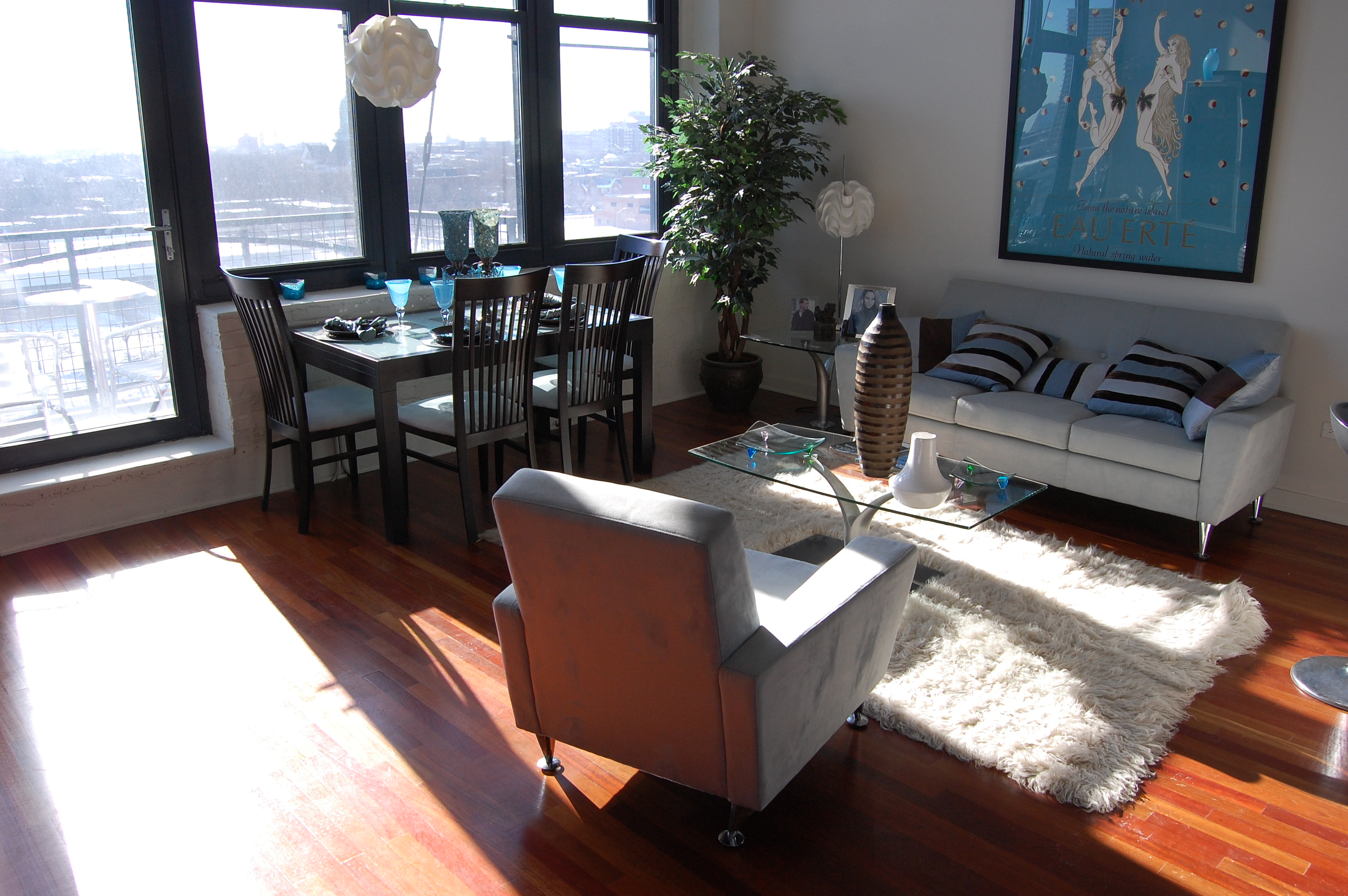 Furnished model at VB1224, a loft conversion at 1224 W Van Buren St in the West Loop, Chicago