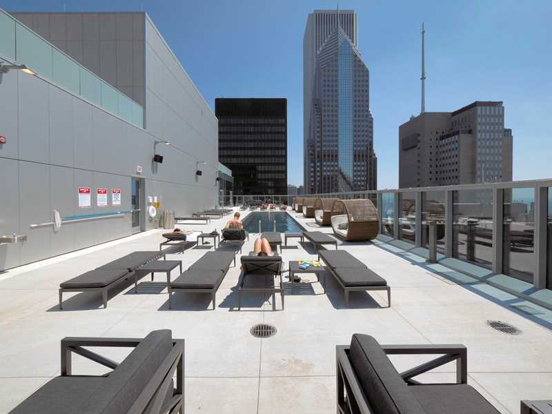Rooftop pool deck at MILA apartments, Chicago