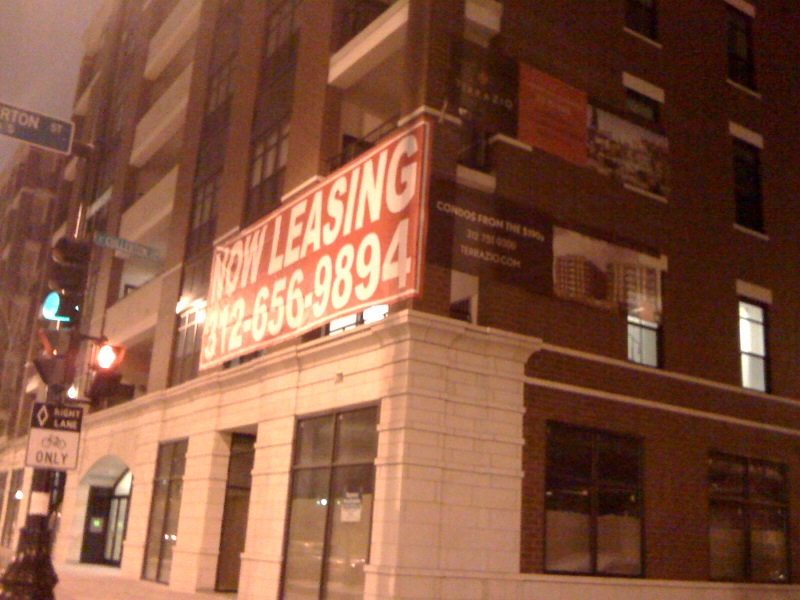 Terrazio leasing sign, South Loop, Chicago