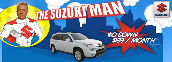 Suzuki Man offering free cars at Lofts at 1800