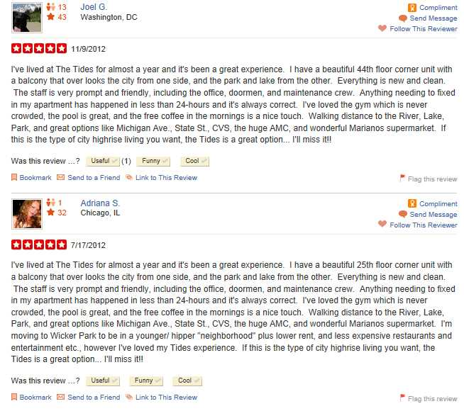 What's up with these Yelp reviews of The Tides?