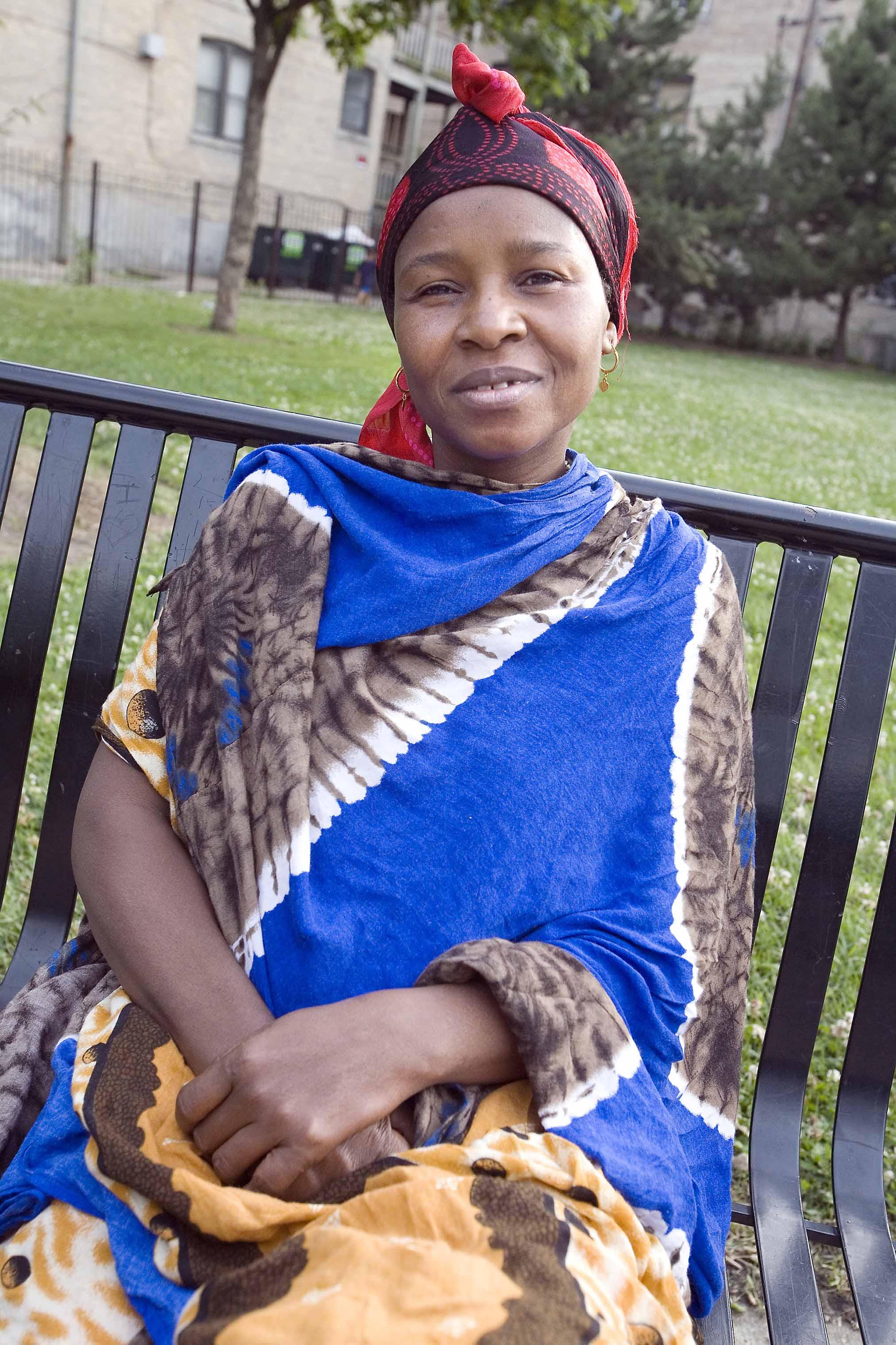 Fatima Mohammed, a native Somalia, enjoys a summer day in Ronan Park, 3000 W. Argyle, in the Albany Park neighborhood.