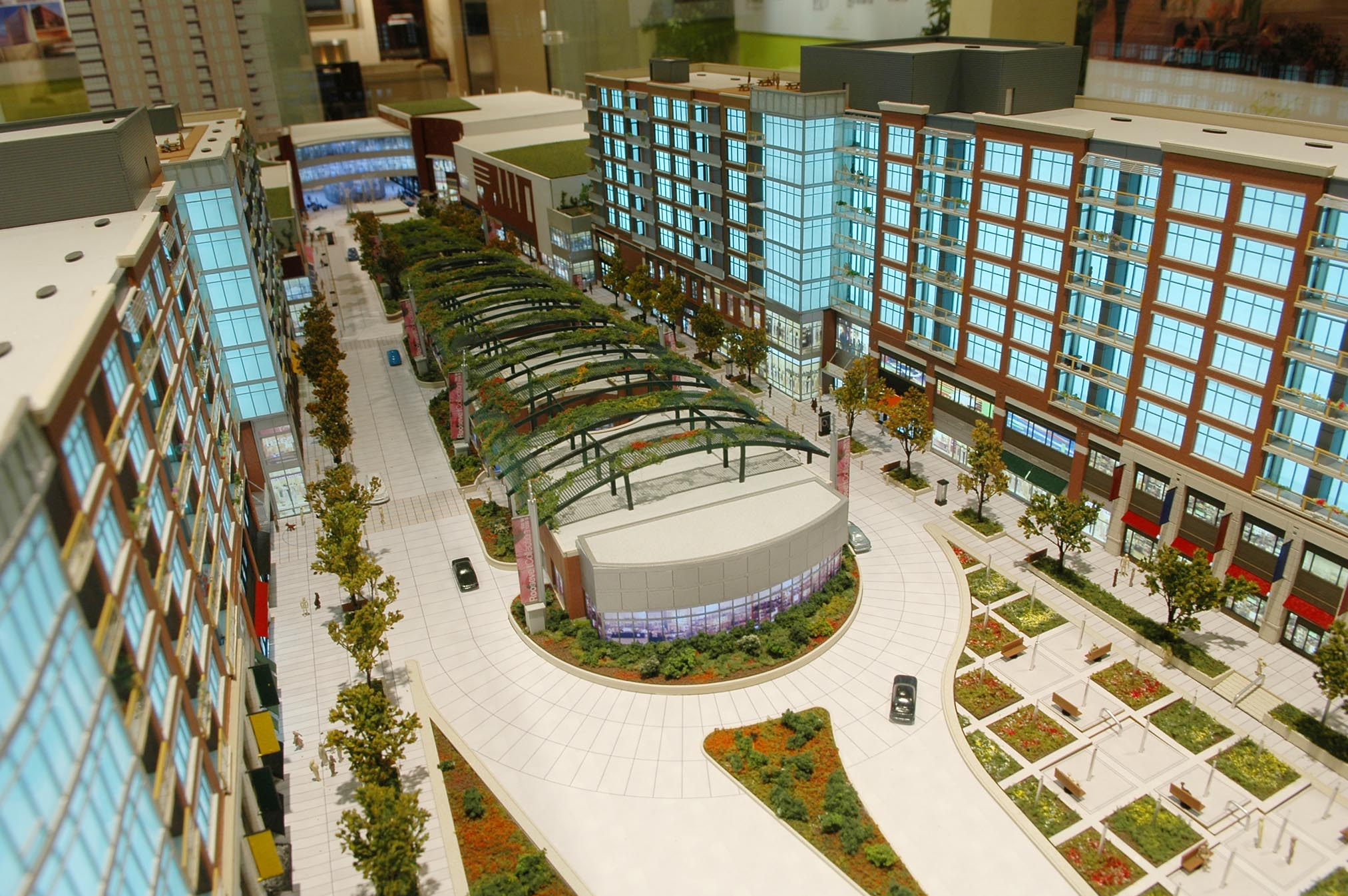 A model for The Lofts at Roosevelt Collection, a major development underway along Roosevelt Road, between Wells Street and the Metra tracks, shows a pedestrian boulevard lined with shops.