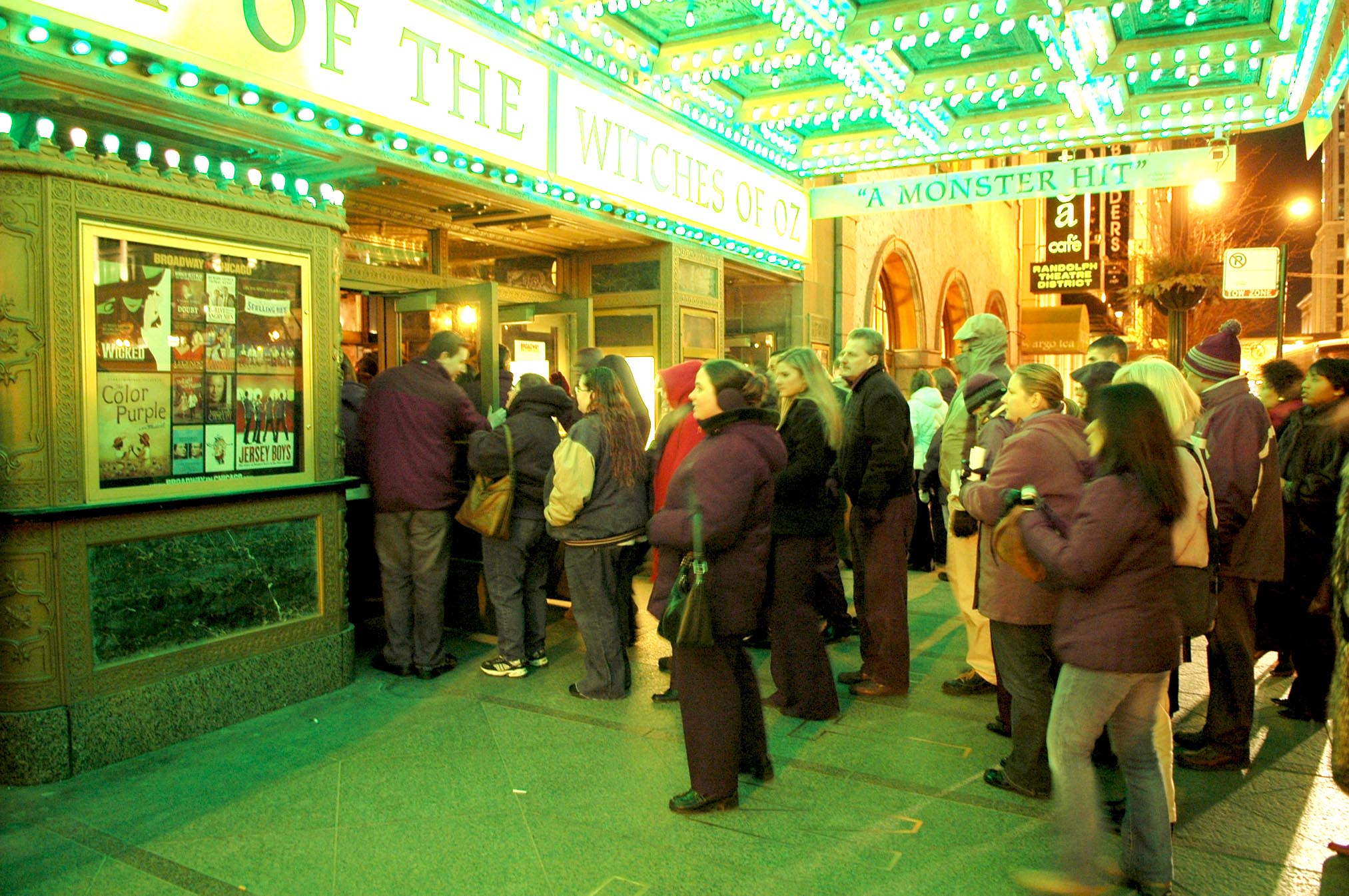 Ticketholders for Wicked, a Broadway in Chicago production, line up outside the Oriental Theatre, 24 W. Randolph St.