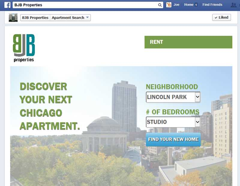 Search for your next apartment at a Facebook page