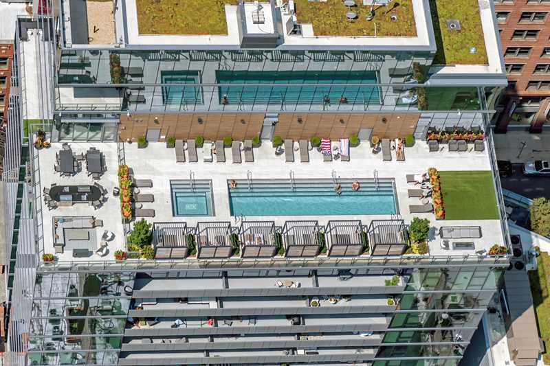 Enjoy the rooftop pool deck at River North's new HUBBARD221 apartments