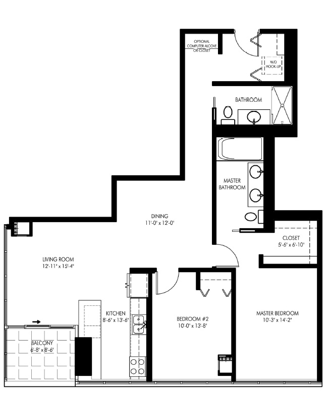 two-bedroom floor plan in 1720 South Michigan