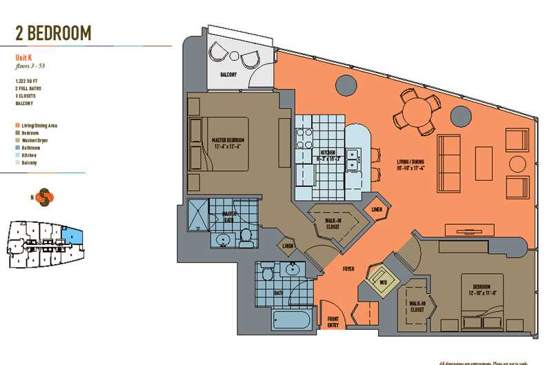 Streeterville split-layout two-bedrooms with great views