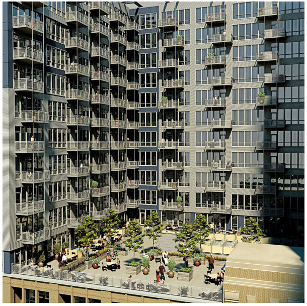 Rendering of 565 Quincy's roof deck