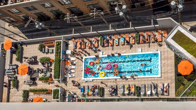 Pool deck at Kenect, Chicago
