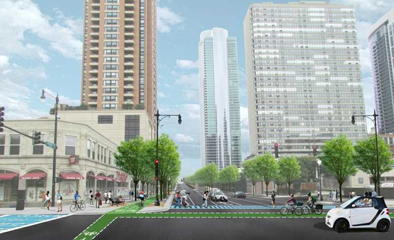 New South Loop condos on a buffered bike path