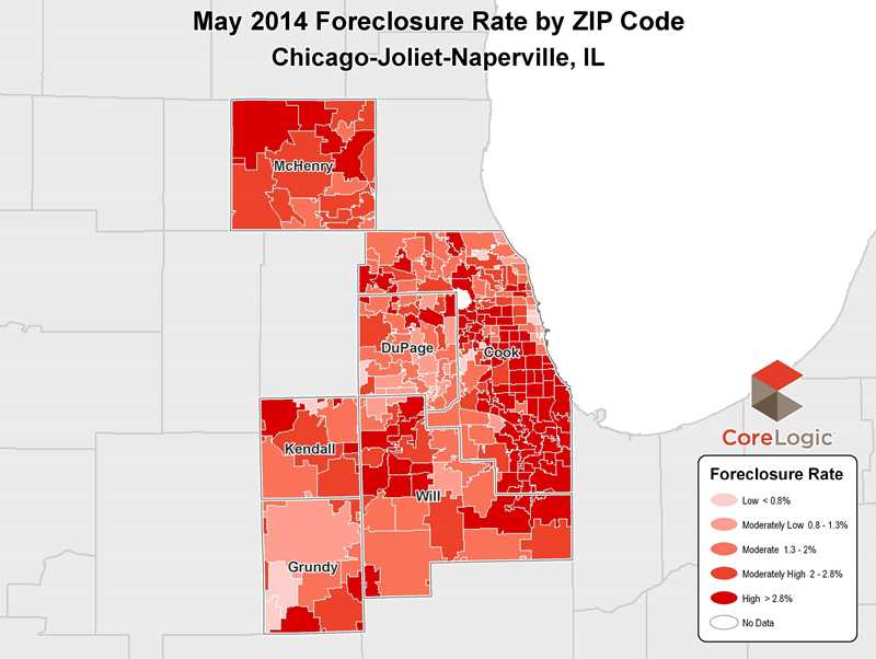 Foreclosure, delinquency rates down sharply in Chicago metro area