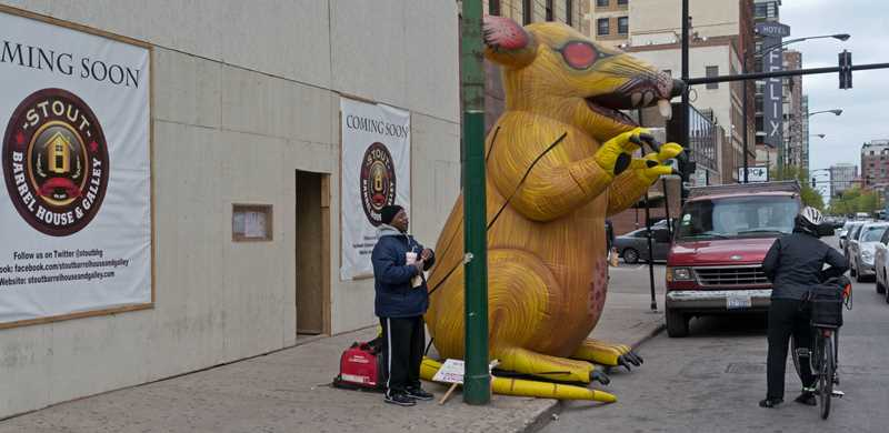 Construction watch – a yellow rat on Clark Street