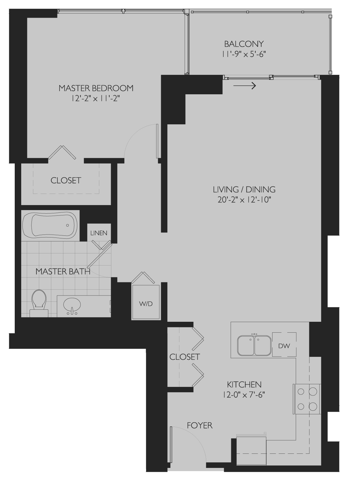 Tier 12 one-bedroom / one-bath floor plan at Burnham Pointe, 730 S Clark St in the South Loop, Chicago