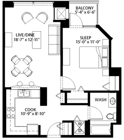 Tier Trendy one-bedroom / one-bath floor plan at Amli 900, 900 S Clark St in the South Loop, Chicago