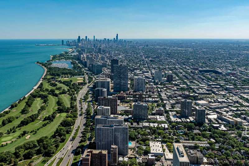 Aerial view of Buena Park, Chicago