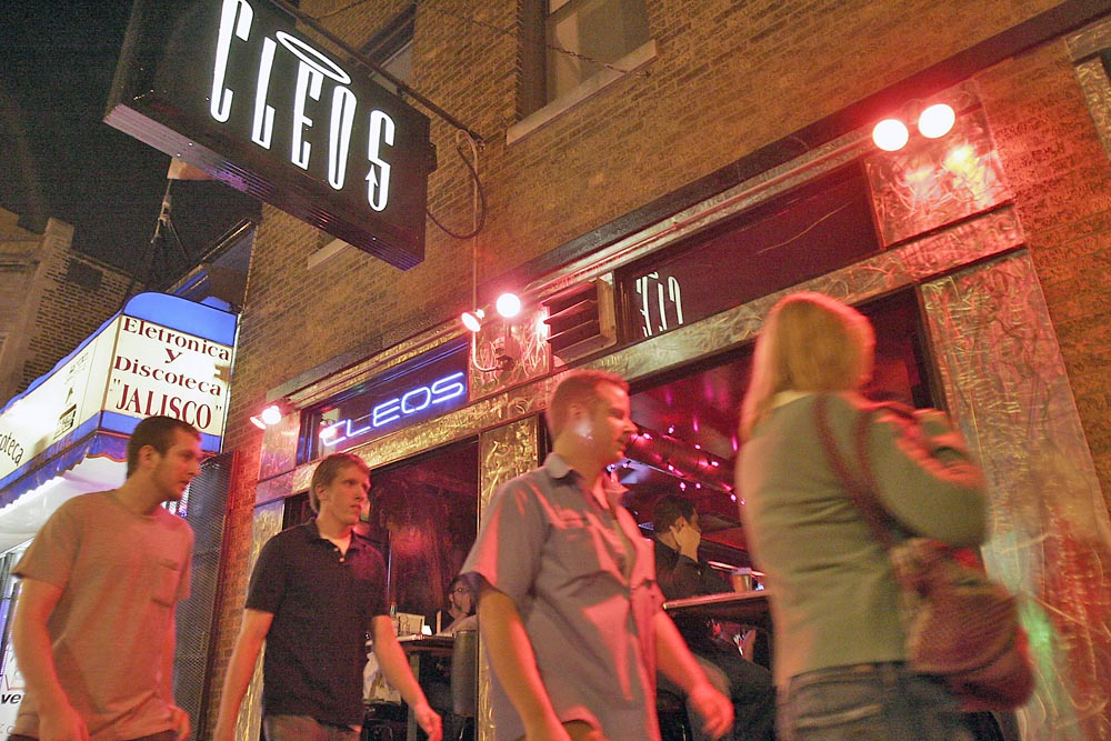 Saturday night outside Cleo's, a popular West Town night spot.