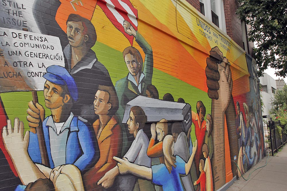 This mural, at the corner of Division Street and Hoyne Avenue, is one of a number of pieces of public art in West Town.