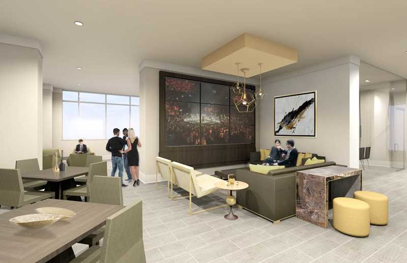Club lounge rendering, Alta Roosevelt, Chicago