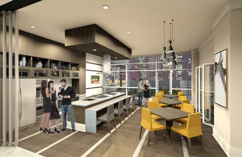 Demonstration kitchen rendering, Alta Roosevelt, Chicago
