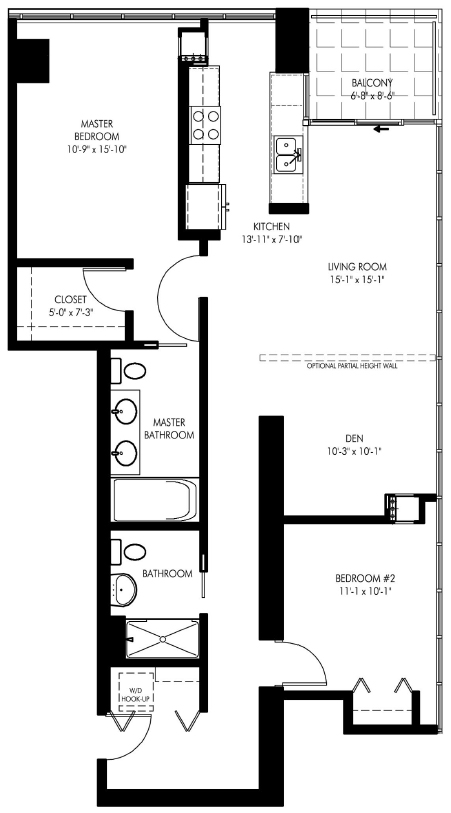 Floor plan for unit 1018 at 1720 South Michigan, 1720 S Michigan Ave, Chicago