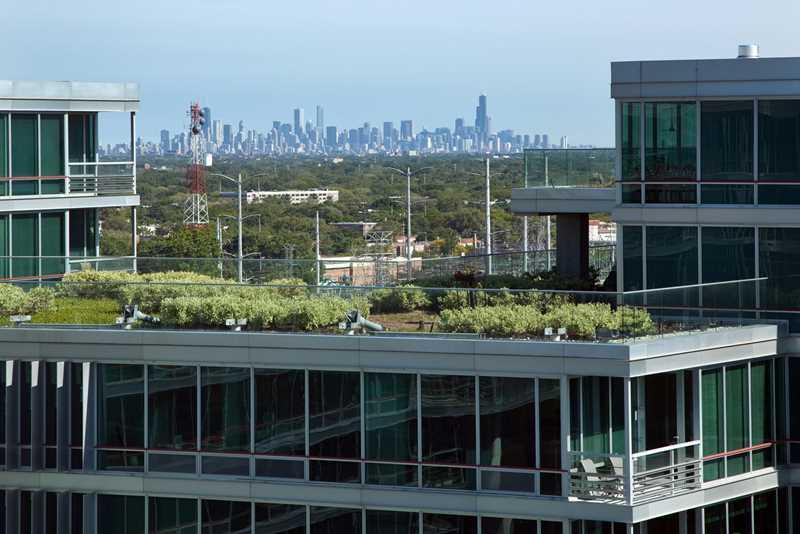 Chicago skyline, viewed from Optima Old Orchard in Skokie. Kardas Photography