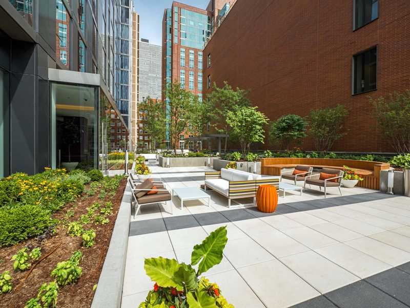 Tour the fitness center and terrace at State & Chestnut apartments