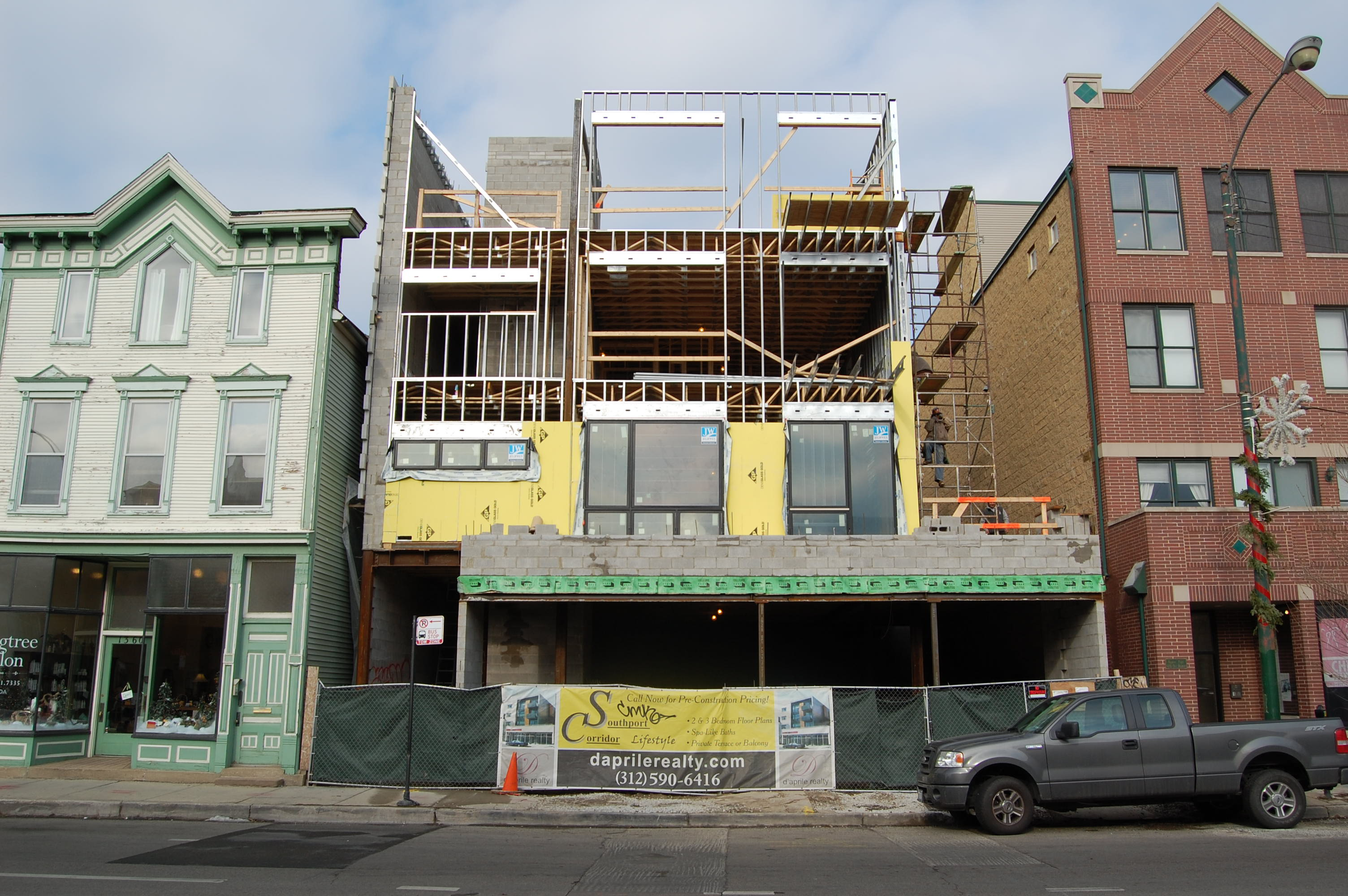 El Pacifico, a new condo development under construction at 1358 W Belmont Ave in Lake View, Chicago