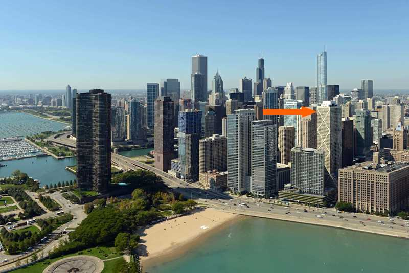 Streeterville's 60-story Axis tower is steps from Ohio Street Beach
