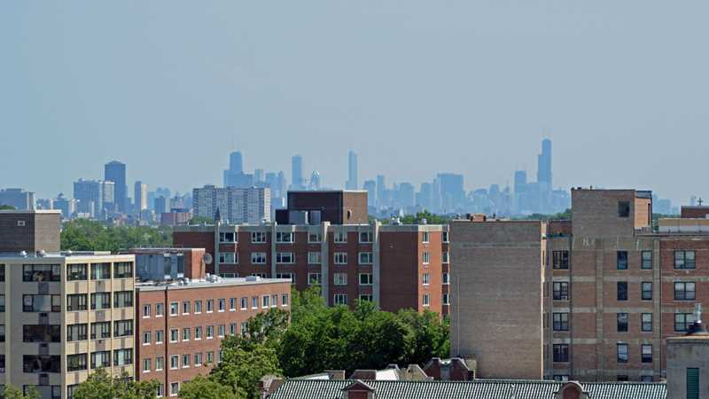 Chicago skyline, viewed from 1717 Ridge in Evanston