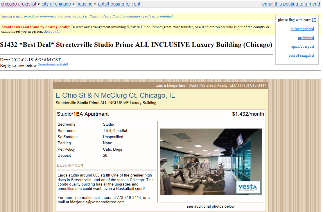 Real and Craigslist fictional rents at The Streeter – YoChicago
