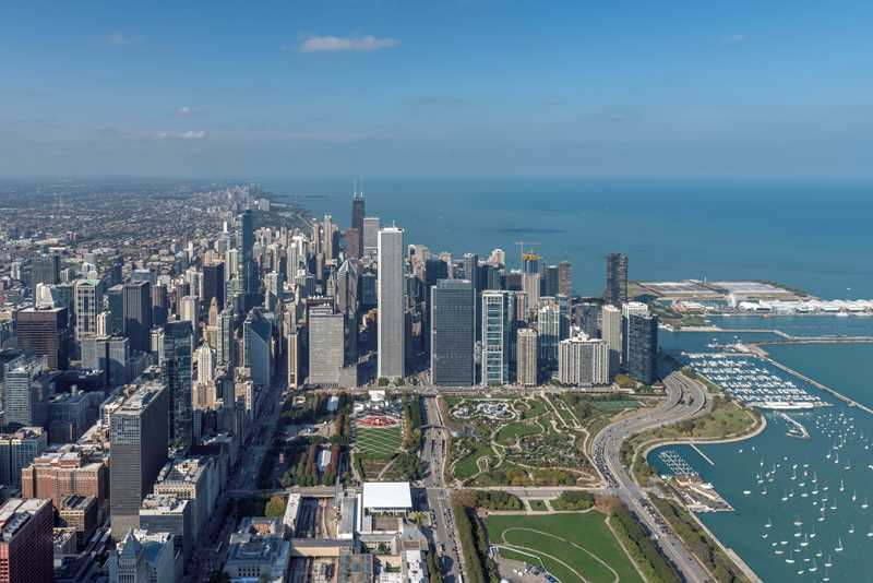 Aerial view, northern half of Grant Park, Chicago
