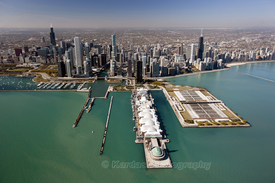 Downtown Chicago From Lake Michigan Beyond Navy Pier Photo By Michael Kardas