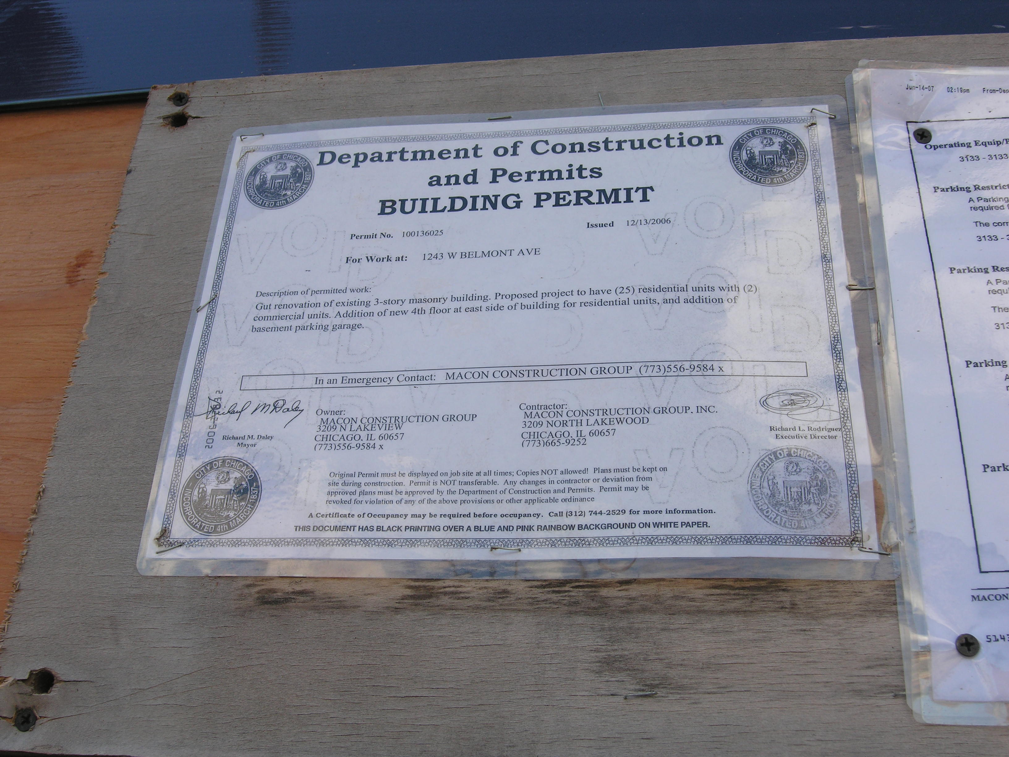 Permit for 3133 N Lakewood Ave / 1243 W Belmont Ave