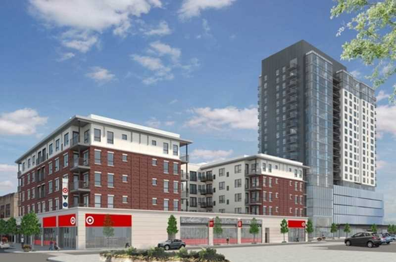 The Emerson apartments in downtown Oak Park have Target on-site