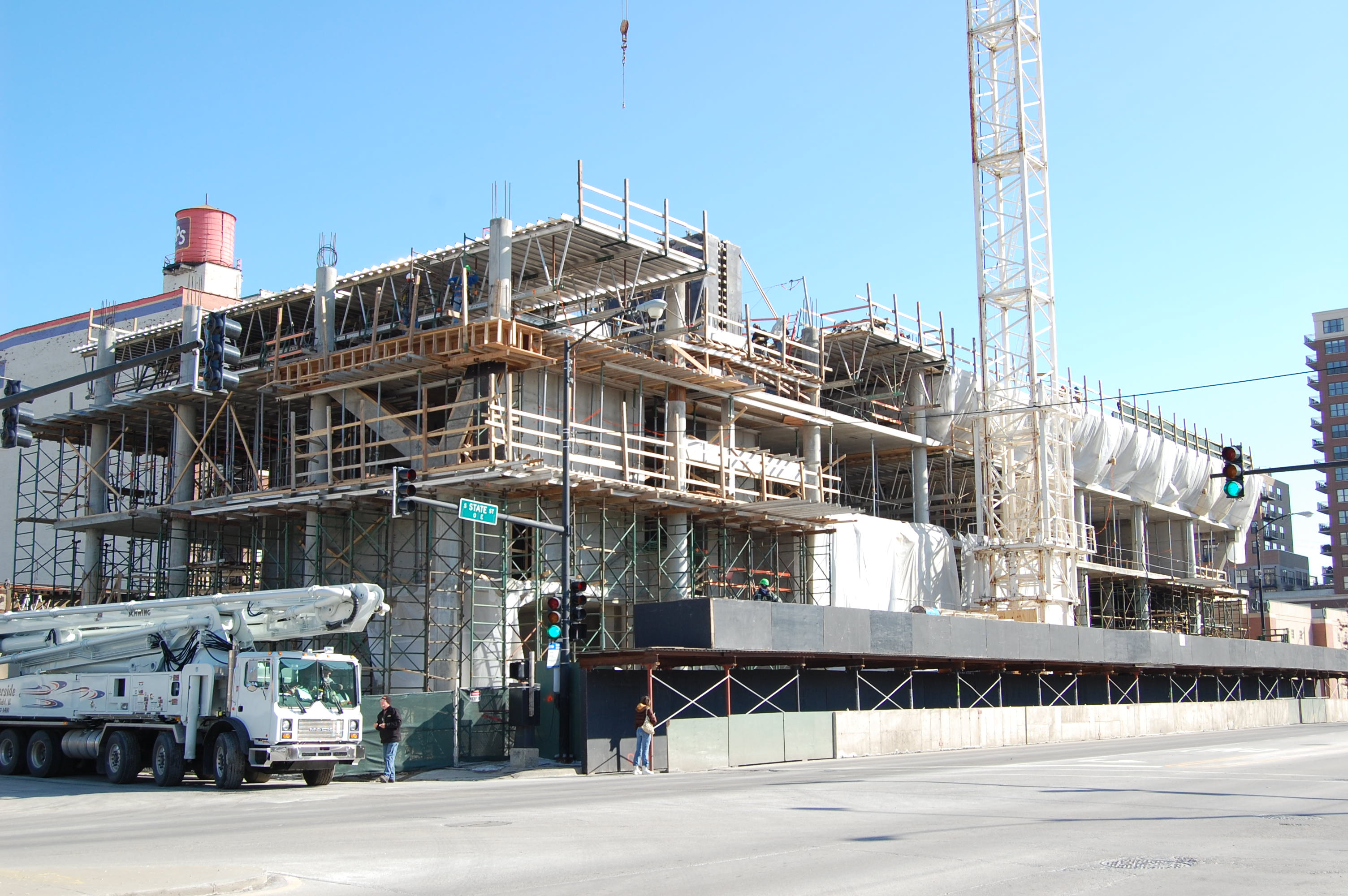 Rental high-rise under construction in South Loop