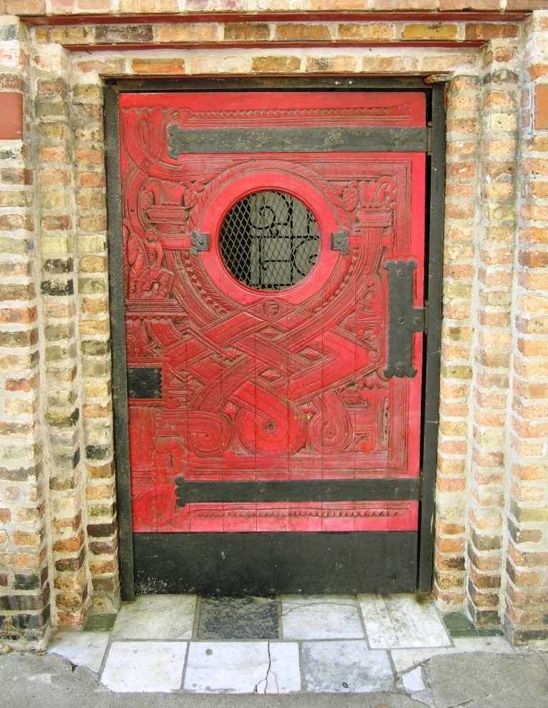Edgar Miller door, 1700 block Wells St, Chicago
