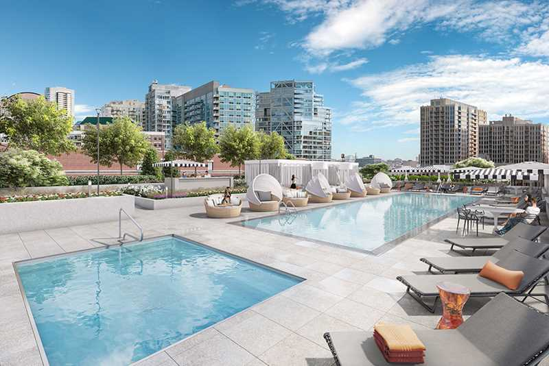 Pool deck rendering, The Hudson, Chicago
