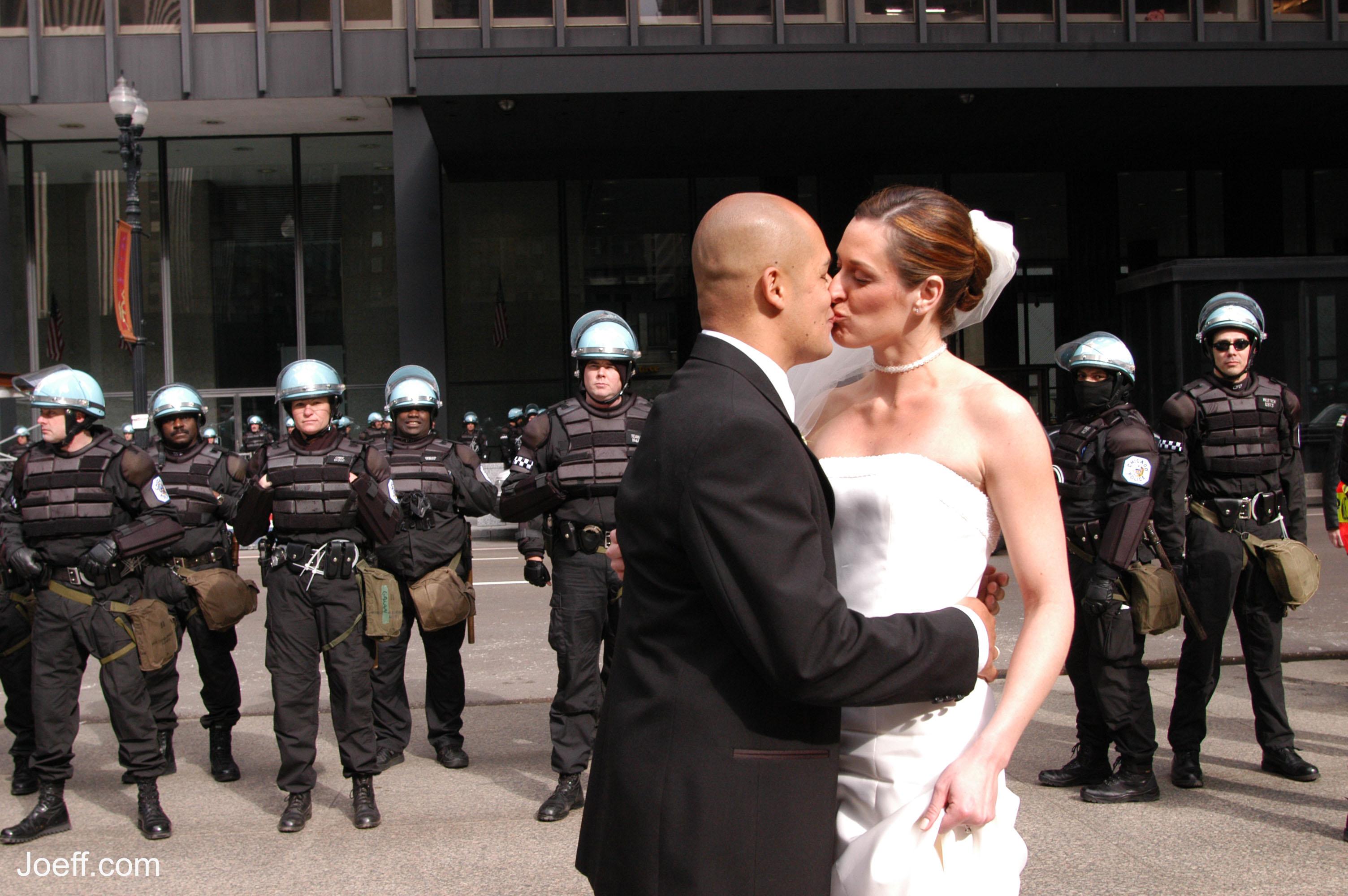 Create a caption: A Daley Plaza wedding
