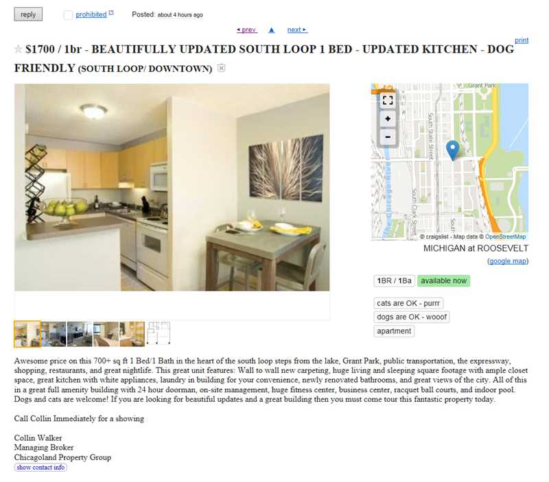 Chicagoland Property Group continues to lie in Craigslist apartment ads