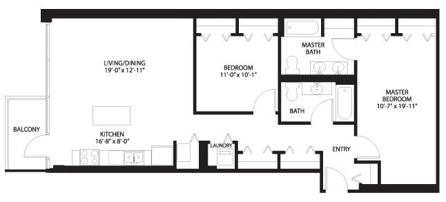 Two floor plans for the Lexington Park lofts